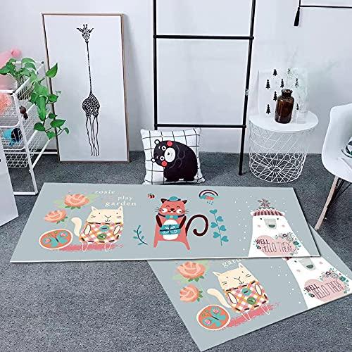 Cartoon Puppy Cat Stampato Tappeto Spesso Antiscivolo Tappetino da Cucina Assorbente Adatto per L Ingresso della Cucina Hotel Pouf Rettangolare Rosa Giallo