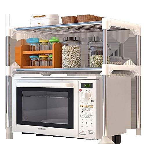 SUNTAOWAN Cocina Microondas Estante Estantería de 2 Niveles Estante de Almacenamiento Unitfor Cocina Utensill Toallas y Accesorios (Color: Plata, Tamaño: 57X48X30CM)