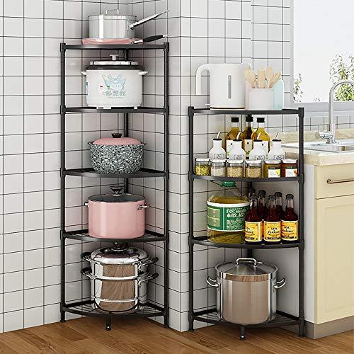 3-Tier Kitchen Corner Shelf Rack Multi-Layer Pot Rack Storage Organizer Stainless Steel Shelves Shelf Holder Small-3 Tiers