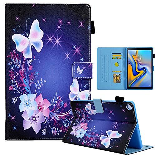 Sunily Funda para Samsung Galaxy Tab A7 10.4 2020 SM - T500 / T505 / T507, Carcasa Cuero PU Cartera Flip Funda para Samsung Tab A7 2020 10.4' Cubierta Magnética Caso con Soporte Cover, Mariposa morada