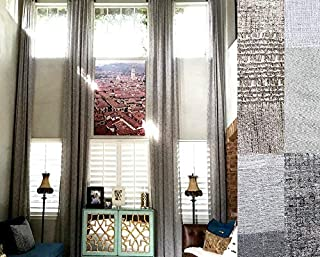 "ikiriska Extra Long Sheer Linen Curtain (1 Panel) Custom Made 12 13 14 15 16 17 18 20 24 ft 2 Story Gray, Beige, White,Cream Drapes Free SWATCHES (Gray, 50"" W x 216"" L)"