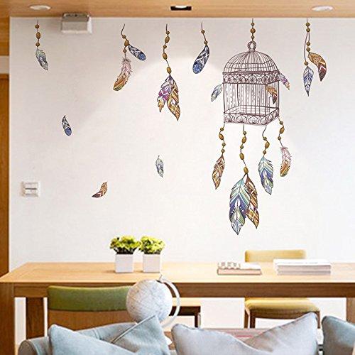 Pegatina pared vinilo decorativo jaula atrapasueños y plumas para salon dormitorios hall escaleras de CHIPYHOME: Amazon.es: Bricolaje y herramientas