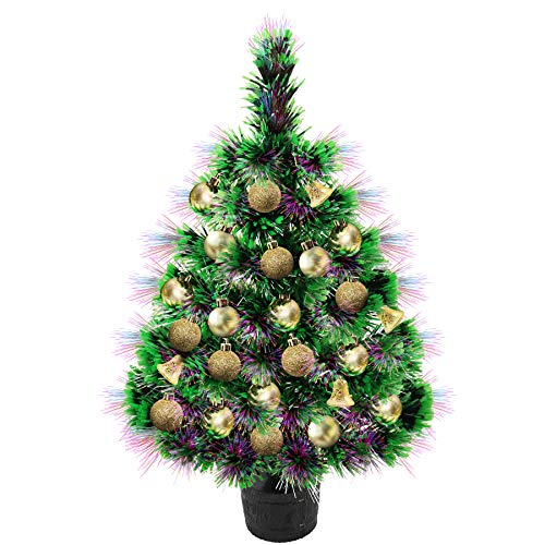 Apatner 22inch Mini Christmas Tree Fiber Optic Lighting Tabletop Artificial Christmas Tree Desktop Xmas Tree with Ball for Christmas, Home, Kitchen, Dining Table Decor(All in One Set)