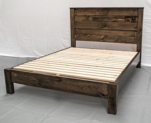 Rustic Farmhouse Platform Bed w Headboard - Queen/Traditional Platform Frame/Wood Platform Reclaimed Bed/Modern/Urban/Cottage Platform Bed