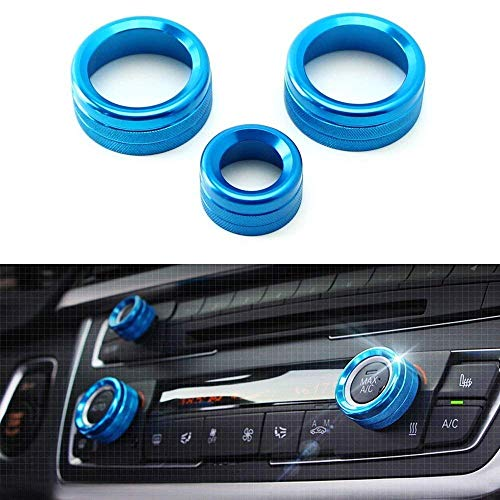 iJDMTOY 3pcs Blue Anodized Aluminum AC Climate Control and Radio Volume Knob Ring Covers Compatible With BMW 1 2 3 3GT 4 Series (F20 F22 F30 F31 F32 F33 F80 F82 F87)