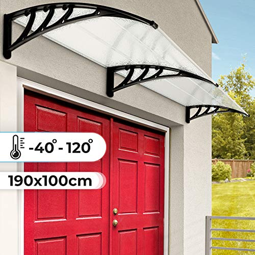 Vordach aus Kunststoff - 190 x 100 cm, Resistent gegen Außentemperaturen von - 40 bis 120 °C, Transparent - Türüberdachung, Robust, Überdachung, Haustürvordach, Pultvordach