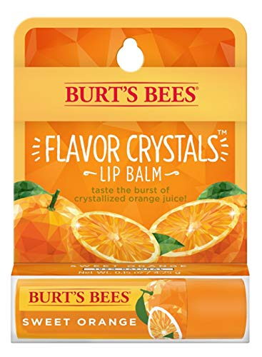 Burt's Bees Flavor Crystals 100% Natural Lip Balm, Sweet Orange with Beeswax & Fruit Extracts - 1 Tube
