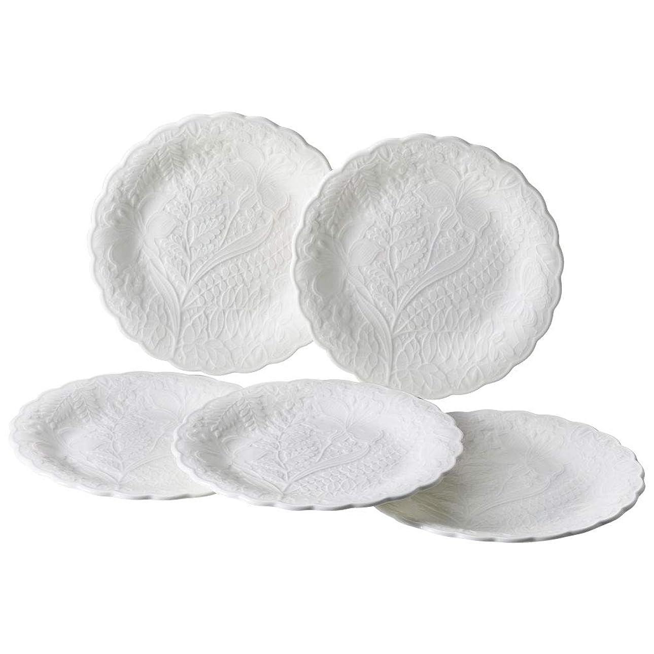 彼のカテゴリー仲人NARUMI(ナルミ) プレート 皿 セット ホニトン?レース ホワイト 17cm 5枚セット 電子レンジ温め 食洗機対応 51952-23177