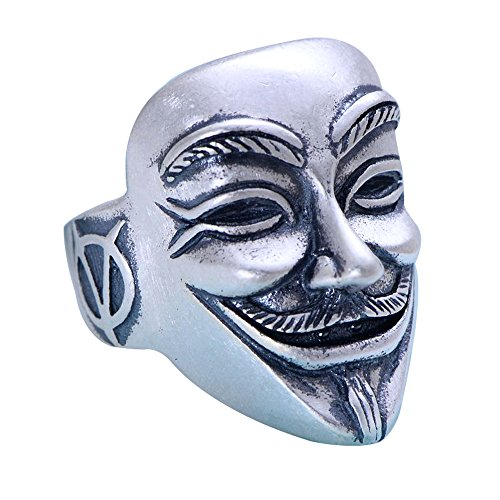 ForFox Herren Damen Matt 990 Sterling Silber V für Vendetta Maske Ring Verstellbar Größe 58-65