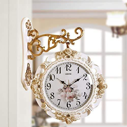 HIGHKAS Reloj Digital Grande de 18 Pulgadas Tipo de hogar Restauración Reloj de Pared de Formas Antiguas Reloj de Doble Cara Creativo Decorativo