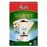 Melitta Gourmet Filtertüten 1x4, Mild, Aromasoft Struktur, Naturbraun, 80 Stück