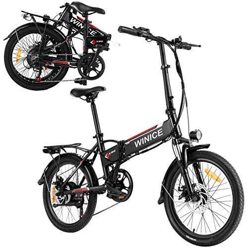 E-Bike City Efahrrad 250W Elektrofahrrad 26/20 Zoll Elektrokreuzer/Elektrofahrrad mit Abnehmbarer 8Ah LithiumIonen Batterie, Shimano 7-Gang (20 Zoll Klapprad Ebike Schwarz)