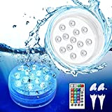 Piscina Luz LED Sumergible,Balippe 2 PCS Impermeables Luces 16 colores RGB Control Remoto,13 cuentas LED Iluminación Luz Subacuática con ventosa para acuario, estanque, piscina, jardín, pecera,bañera