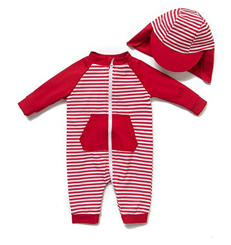 BONVERANO Kids UPF 50+ Sun Protection S/S One Piece Zip Sunsuit with Sun Cap(12-18 Months, Red Stripes)