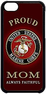 USMC Marines Marine Corps Proud Mom rubber Plastic Black Case Cover for NEW iPhone 8 PLUS by Cell World LLC- (Tm)Ships from Florida & Includes 3 screen Protectors