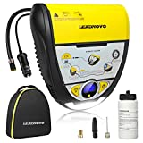 Portable Air Compressor Tire Repair, Tire Inflator with Tire Sealant, DC 12V with LED Light Digital Display Air Pump for Car, Bicycle, Motorcycle, Balls, Other Inflatables-Yellow