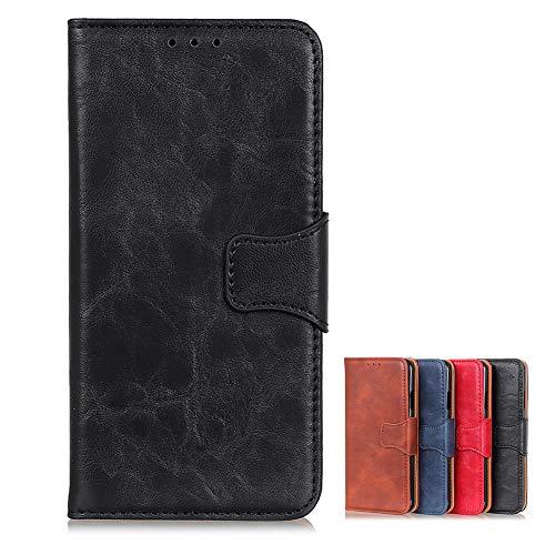 Hülle für Realme 6 Premium Leder PU Handyhülle Flip Hülle Wallet Lederhülle Klapphülle Klappbar Silikon Bumper Schutzhülle für Realme 6 Tasche (Schwarz)