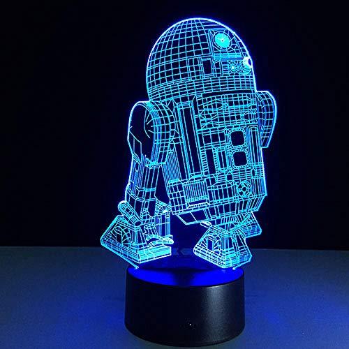 Muerte Star Wars acorazado Millenium Falcon R2 D2 Yoda BB 8 Transporte Perro Películas Abanicos Niño Luz de Noche para Forma Efecto 3D - 7 Colores cambiantes