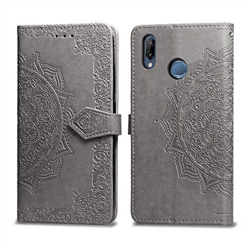 Bear Village Hülle für Huawei Nova 3, PU Lederhülle Handyhülle für Huawei Nova 3, Brieftasche Kratzfestes Magnet Handytasche mit Kartenfach, Grau