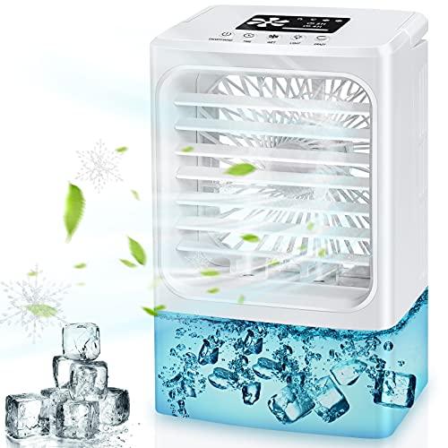 Aire Acondicionado Portatil, Mini enfriador de aire, Purificador de Humidificador de Ventilador Enfriador 4 en 1, tanque de agua de 600 ml, 3 Velocidades, 2/4h Temporizador, 7 Colores LED