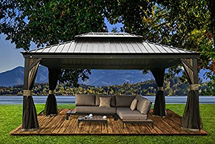Kozyard Alexander Hardtop Aluminum Permanent Gazebo with a Mosquito Net and Privacy Sidewalls (Alexander 12'x16')