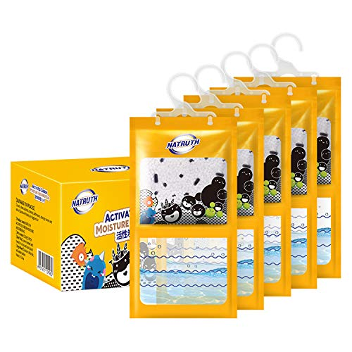 NATRUTH 5-PACK Moisture Absorber Packets,Activated Charcoal Moistureproof Desiccant Hanging Bag 9.15oz Use for Kitchen Bathroom Wardrobe, Humidity Packs, Hanging Closet Dehumidifier Bags for Closet