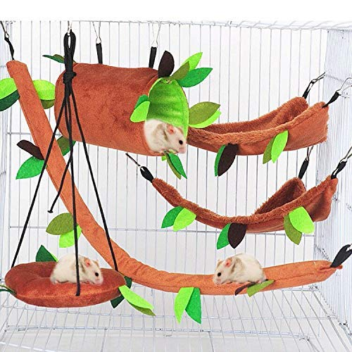 Aulufft Hamster Hammock, 5Pcs Hamster Sleeping Nest Hanging Tunnel and Swing for Sugar Glider Squirrel Playing Sleeping,Sugar Glider Toys Hamster Swing,Jungle Set Plush Warm Beds for Animal