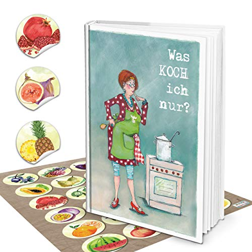 Logboek-uitgeverij set XXL grappig receptenboek om zelf te schrijven, DIN A4, wat is ik allemaal? groene vintage + 24 stickers fruit kleurrijk aquarel kookboek leeg voor eigen recepten cadeau DIY