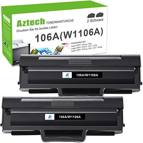 Aztech 106A Toner Kompatibel für HP 106A W1106A Druckerpatronen für HP Laser MFP 135wg 107w 107w 137fwg Toner HP MFP 135ag 137fnw Toner HP 135a 135w 107a (2 Pack,Schwarz)