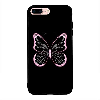 iPhone 7 Plus / 8 Plus Case Cover Pink Black Butterfly, Moreau Laurent Hard Phone Cover Trendy Modern Design Color Pattern...