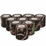 DROK Camouflage Tape, 10 Roll 2 Inches 4.92 Yards 14.76 Feets Self-Adhesive Protective Non-Woven Fabric Stealth Duct Tape Cling Scope Wrap Military Camo Stretch Bandage for Hunting Gun Rifle Shotgun