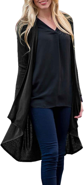 Chunoy Women Casual Long Sleeve Lapel Open Front Faux Shearling Shaggy Winter Warm Jacket Long Cardigan Coat
