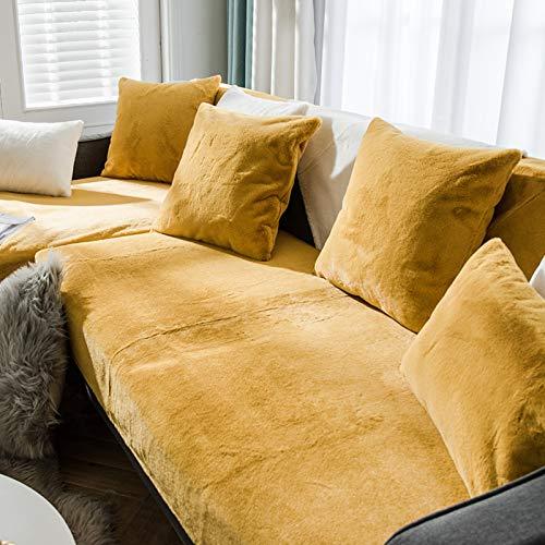 QSCV Felpa Grueso Fundas para Sofa,Suave Terciopelo 1 2 3 4 Plazas Funda Sofa Ajustables para Salon,Anti-resbalón Funda Sofá para Perros-Amarillo 110x160cm(43x63inch) 1pcs
