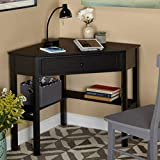 Corner Writing Desk with Pullout Drawer and Shelf, Multiple Finishes, Wooden Corner Desk Constructed of Wood and MDF, 1 Drawer for Storage, Comfortably Fitting in Any Home, Studio