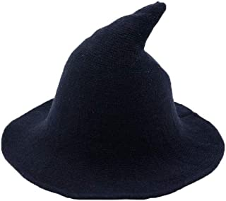 Halloween Modern Felt Witch Hat Wool Spire Knit Big Cap Personality Women Party Costume