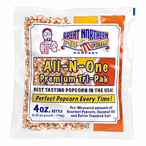 4 oz Popcorn Packs – Pre-Measured, Movie Theater Style, All-in-One Kernel, Salt, Oil Packets for Popcorn Machines by Great Northern Popcorn (24 Case)