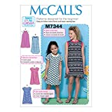 McCall's Patterns M7344 Children's/Girls' Raglan Sleeve Knit Dresses, Size CHJ (7-8-10-12-14)