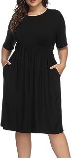 Women Plus Size Half Sleeve Round Neck Cocktail Midi Dress Ruffle Party Dresses