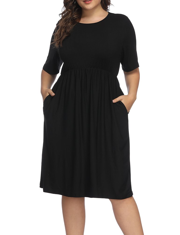 Plus Size Dresses - Women's Summer Casual T Shirt Dresses Short Sleeve Swing Dress Pockets