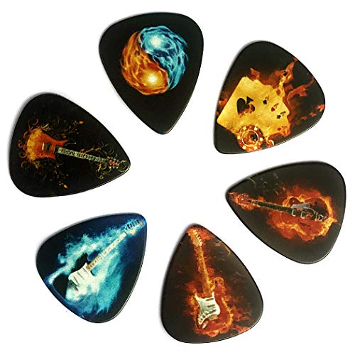 Guitar Picks, Personalized 6-Pack Flame Style Guitar Plectrums, Medium Gauge (0.71mm), Musical Instrument Accessories for Acoustic Guitaars, Bass, Electric Guitars, Classical Guitars, Ukuleles