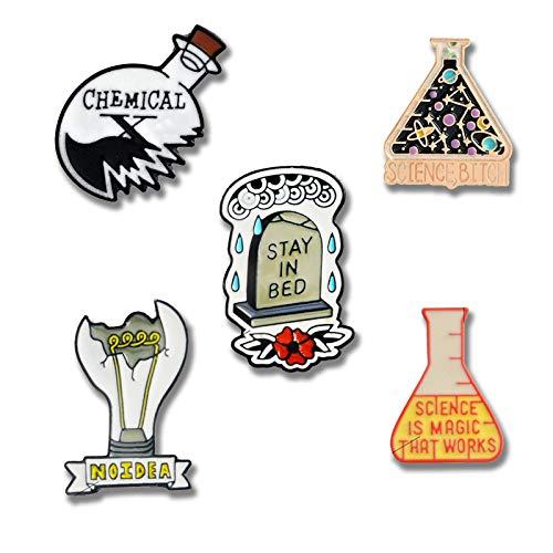 SHAOWU Wissenschaft Fantastische chemische Reaktion Stifte Schmuck Experimentelles Utensil Zerbrochene Glühbirne Flasche Anstecknadel Abzeichen Emaille Broschen Style4