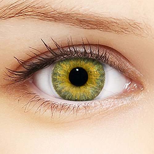 Linsenfinder Farbige Kontaktlinsen Braun '3Tones Honey Brown' + Behälter für HELLE Augen ohne und mit Stärke braune Kontaktlinsen farbig