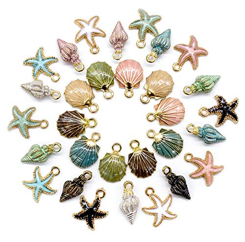 AUEAR, 30 Pack Ocean Starfish Conch Seashell Enamel Charms Pendants for DIY Jewelry Making (Ocean Charms Style1)