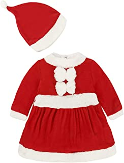 Fairy Baby 2Pcs Toddler Baby Boy Girl Christmas Outfit Santa Fleece Costume Set+Hat