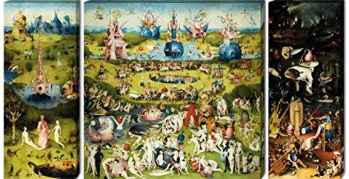 1art1 59091 Hieronymus Bosch - Der Garten Der Lüste, 1500, 3-Teilig Leinwandbild Auf Keilrahmen 130...