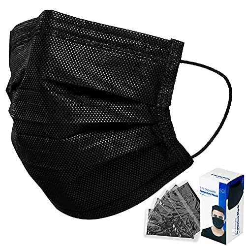 50PCS BLACK Disposable Face Mask, 3 Layers Filter Non-Woven Disposable Masks Anti Dust-Facial Cover Masks
