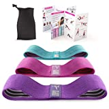 AUOMITH Fabric Resistance Bands Set of 3, Premium Booty Bands for Men Women Fitness Bands for Glutes, Hips and Legs, Ideal for Yoga, Pilates, Gym and Home Exercies Workout Booklet and Bag (PPG)