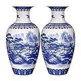 Jarrón Jingdezhen Ceramics Azul y blanco Patrón de paisaje Patrón de ornamentos Adornos de la sala de estar China Gabinete de vino Antiguo Jarrón de huevo Antiguo Centros de mesa ( Color : B )