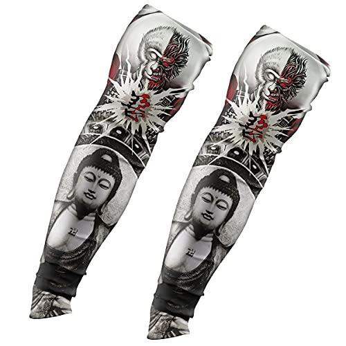 CHICAI 3 Coppie Maniche temporanee del Tatuaggio, Maniche a Braccio di Protezione Solare UV, Maniche di Raffreddamento a Compressione, for la Festa Unisex Cool Men Donne (Color : J)