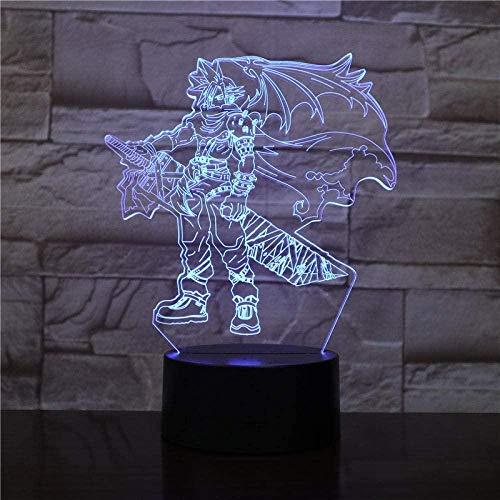 Lonfencr 3D-Illusionslampe führte Nachtlicht Dragonball Final Fantasy Cloud Strife Touch Sensor 7 Farben mit Fernbedienung